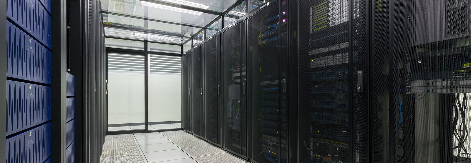 Modern interior of server room, Super Computer, Server Room, Datacenter, Data Security Center.